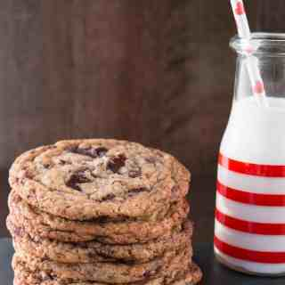 BAKERY STYLE CHOCOLATE CHUNK COOKIES. Crispy around the edges, chewy and fudgy in the center, jumbo size cookies. Perfect with a glass of milk.