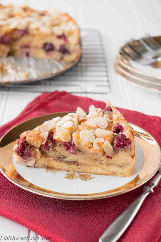Buttery flaky croissants, ripe juicy berries and crunchy almonds all baked in a luscious custard makes this cake absolutely irresistible.