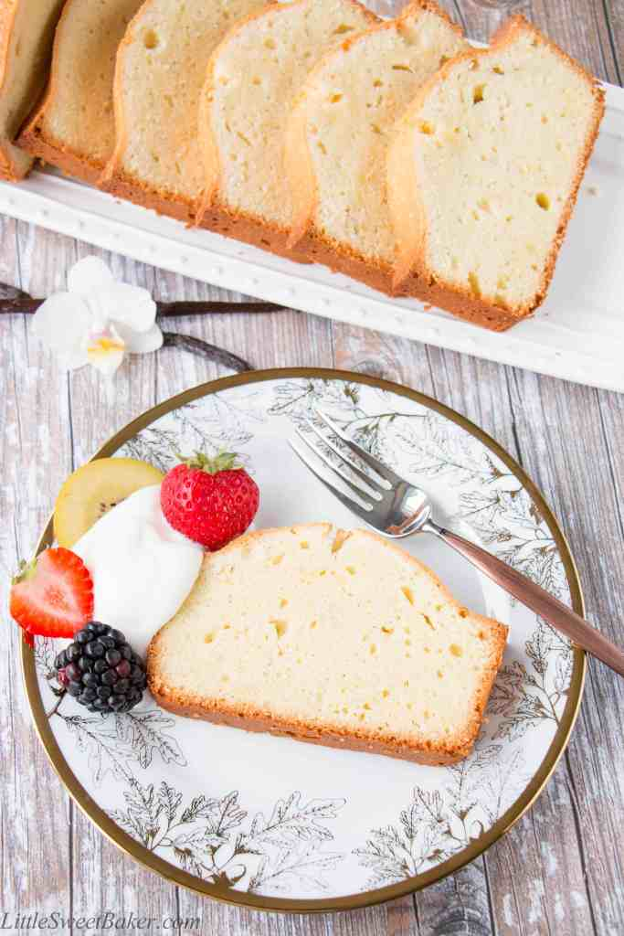 This pound cake is wonderfully rich and buttery. It has a gorgeous golden brown crust and a nostalgic aroma of vanilla.