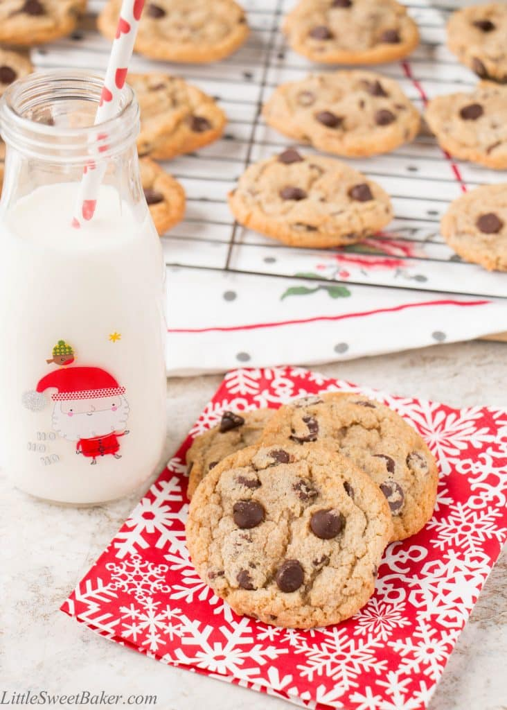 This make-ahead chewy chocolate chip cookie recipe is perfect for the holidays. This recipe makes 5 dozen cookies. It refrigerates and freezes well, so you're always armed with cookie dough ready to be freshly baked!