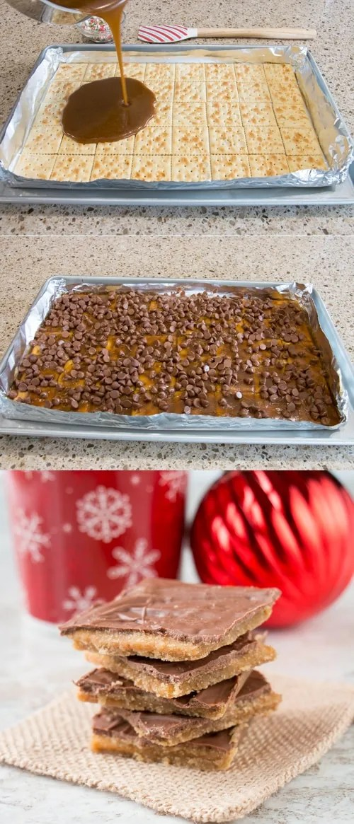 "It's called ""crack"" for a reason; it's that addictive! Just 4 ingredient to make this popular Christmas candy (aka saltine cracker toffee)"