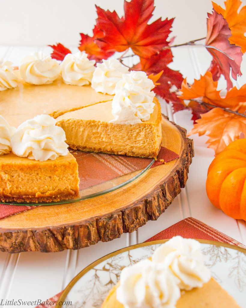 This is the creamiest and dreamiest pumpkin cheesecake you'll ever make. It's perfectly spiced with cinnamon, cardamon and has a gingersnap cookie crust.