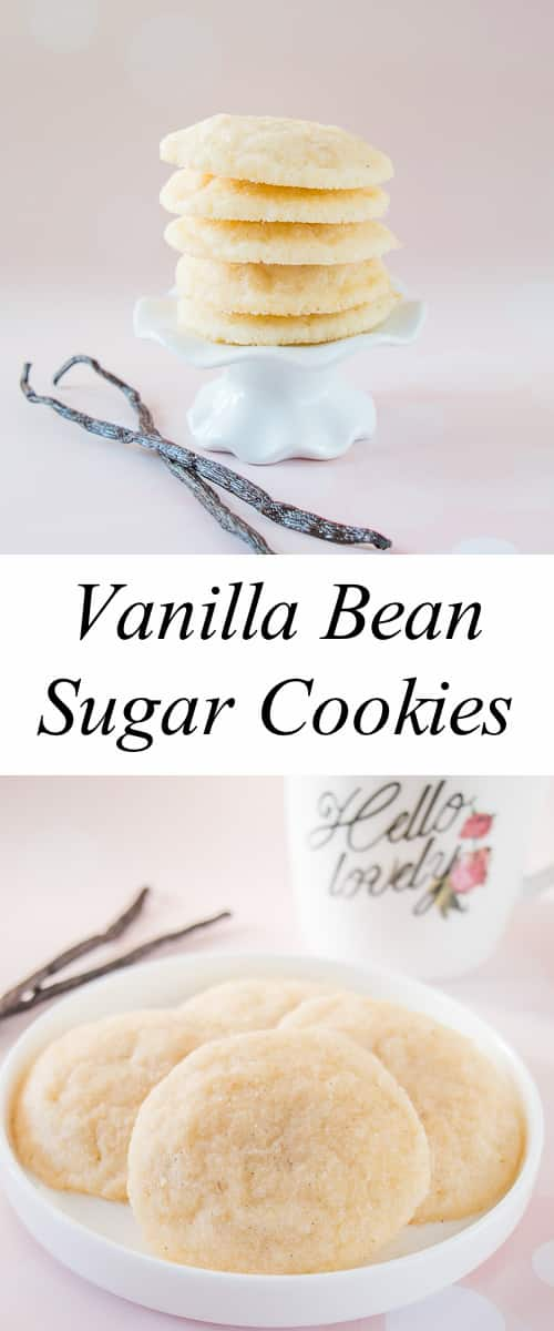 These soft and delicate sugar cookies are chewy and made extra special with the lovely taste of natural vanilla bean seeds.