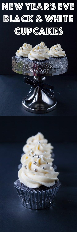 Elegant dark chocolate cupcakes with white chocolate buttercream.