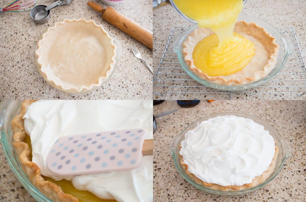 This easy homemade lemon meringue pie has a fresh lemon filling that is tangy, sweet and just bursting with flavor. It's topped with a lovely and fluffy meringue.