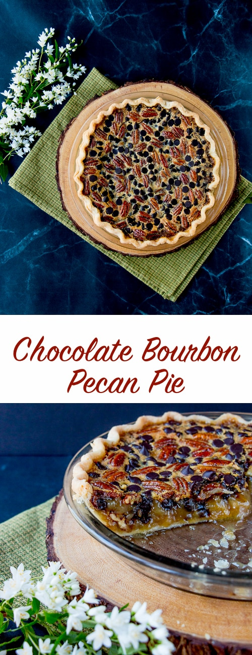 This pie combines crunchy pecans with the intense flavors of dark chocolate and bourbon in a sweet-gooey filling.