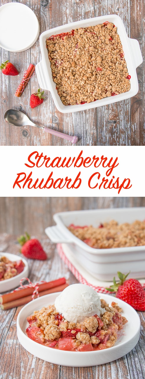 Sweet strawberries and tangy rhubarb topped with a cinnamon and brown sugar crunchy oat streusel.