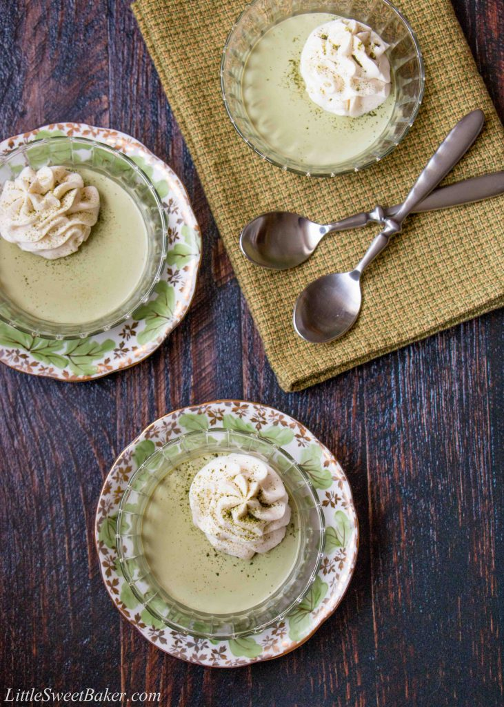 A silky-smooth green tea pudding topped with a sweet white chocolate whipped cream. #matchapudding #greenteapudding #chinesedessert #japanesedessert #matchagreentea