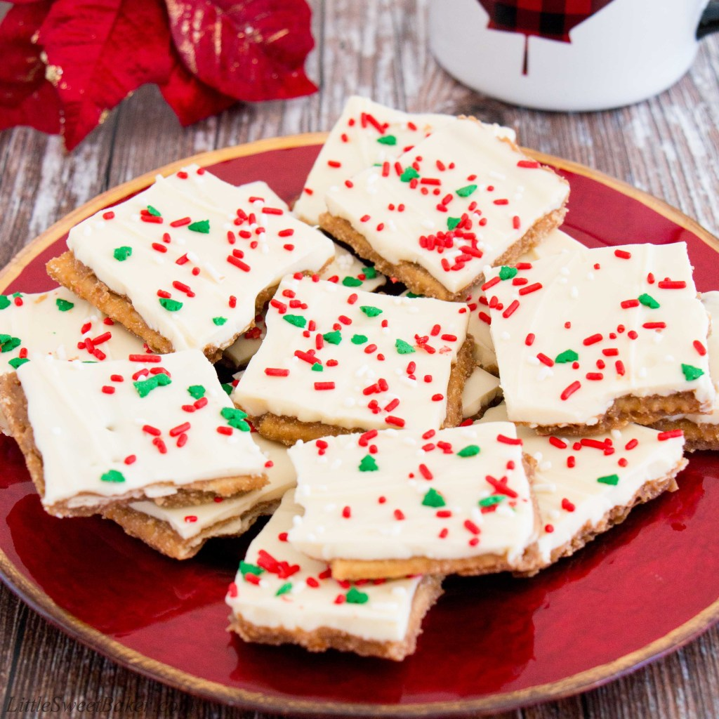 light and crispy saltine crackers surrounded by a buttery toffee and topped with creamy white chocolate