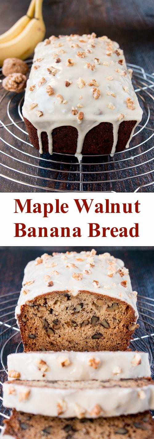 Moist banana bread meets the wonderful flavor of maple-walnut. #bananabread #maplewalnut #banananutbread #bananawalnutbread