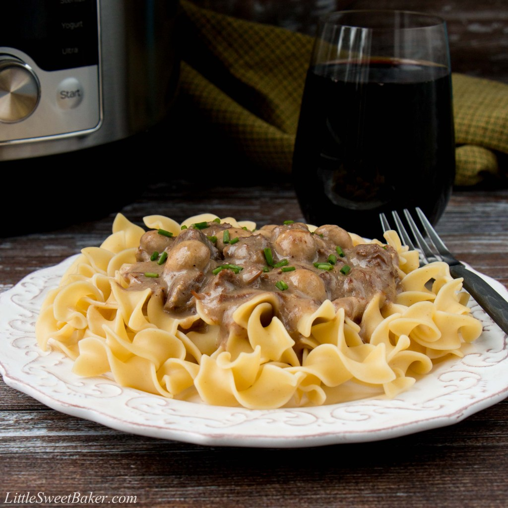 This easy one-pot meal features succulent chunks of beef in a creamy mushroom sauce. Cooking the beef in the Instant Pot makes it so tender and creates the most flavorful sauce you can imagine. #beefstroganoff #instantpotrecipe