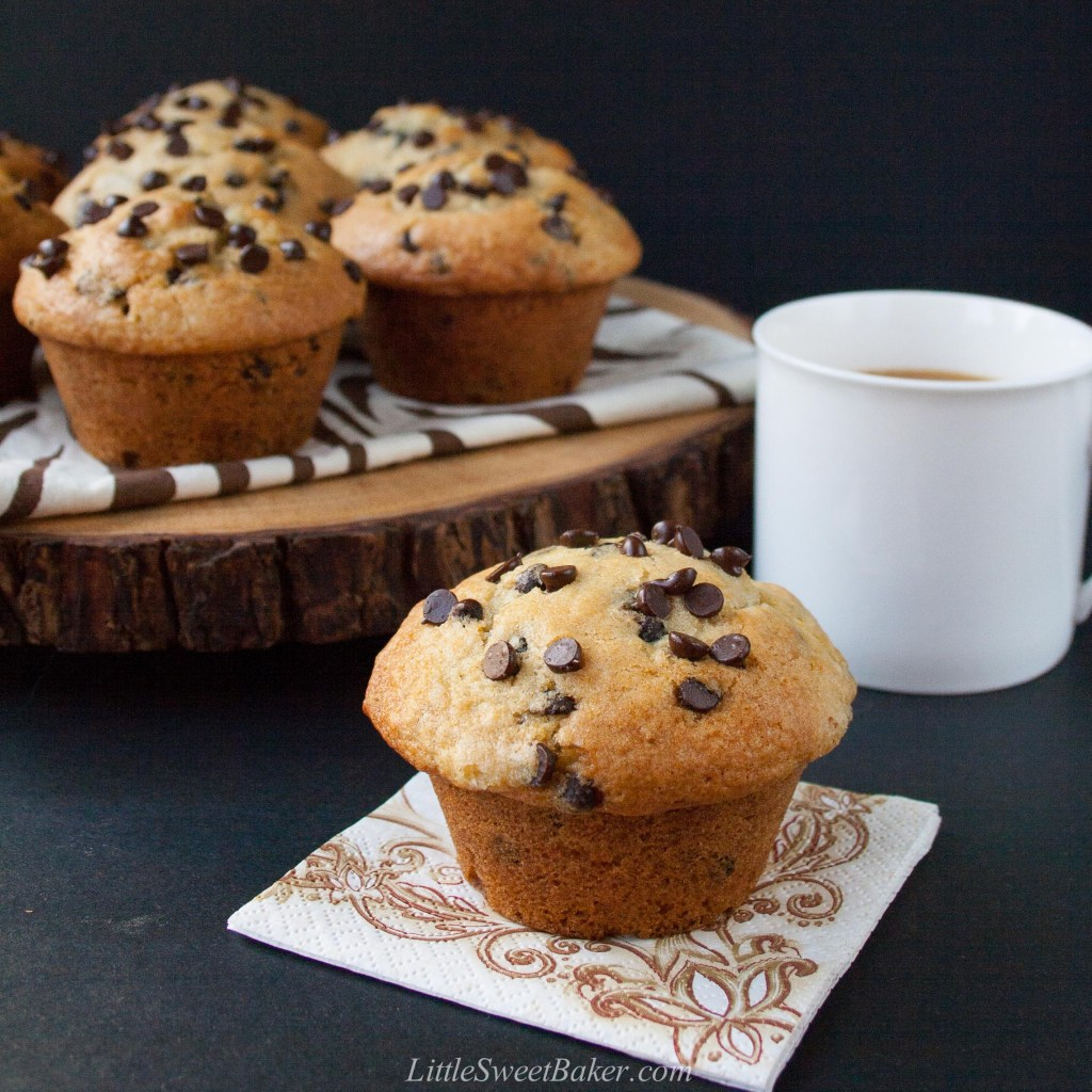 Bakery Style Chocolate Chip Muffins (video)
