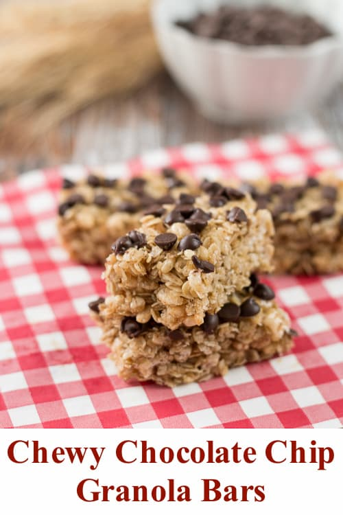 Easy no-bake homemade granola bars made with simple ingredients. So much better than store-bought. #chewygranolabars #chocolatechipgranolabars #homemadegranolabars
