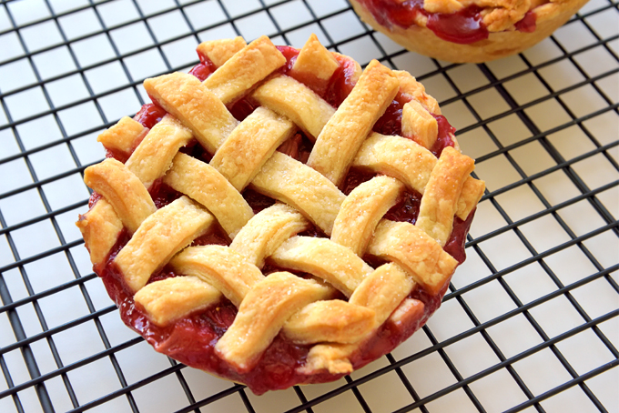 Mini Strawberry Lattice Pies