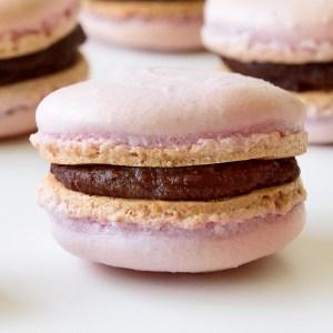 Raspberry Chocolate French Macarons