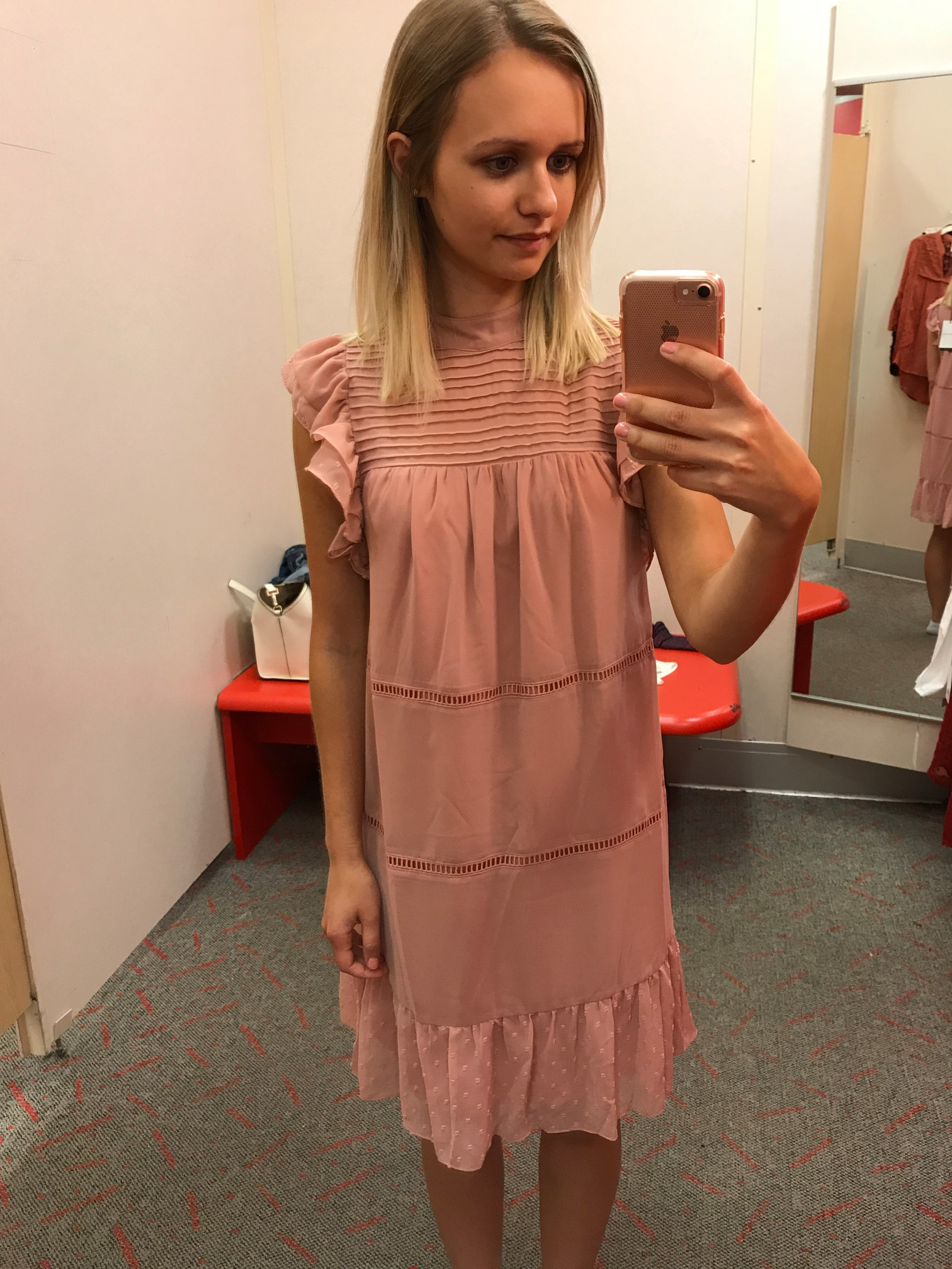 Target Who What Wear Chiffon Mini Dress fitting room adventures little things olga connecticut style blog