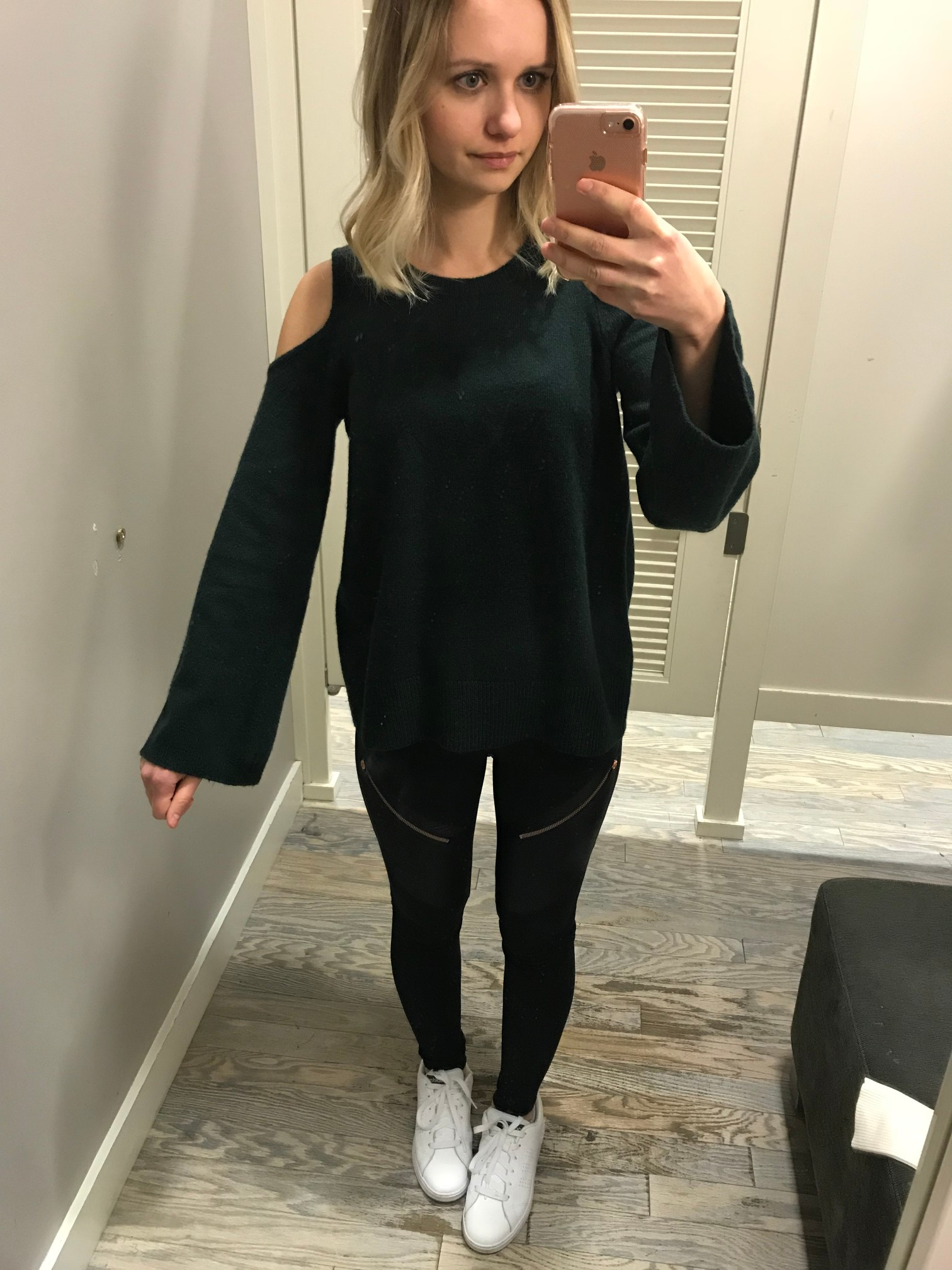 LOFT Cold Shoulder Bell Sleeve Sweater   Fitting Room Adventures by Little Things Olga