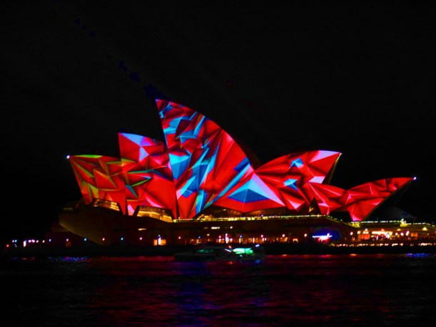 The Sydney Opera House lit up for Vivid Festival
