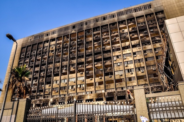 Cairo-Egypt-burned-out-National-Democratic-Party-headquarters