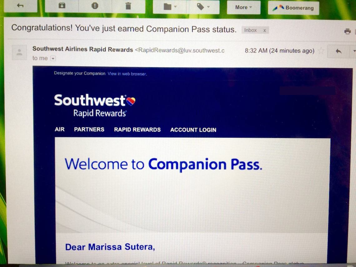 Southwest Companion Pass Approval