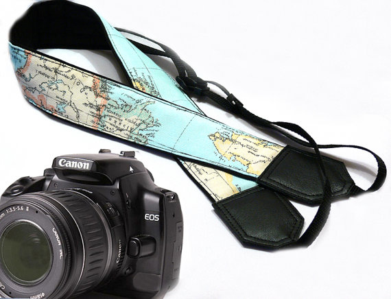 World Map Camera Strap - 2017 Travel Gift Guide