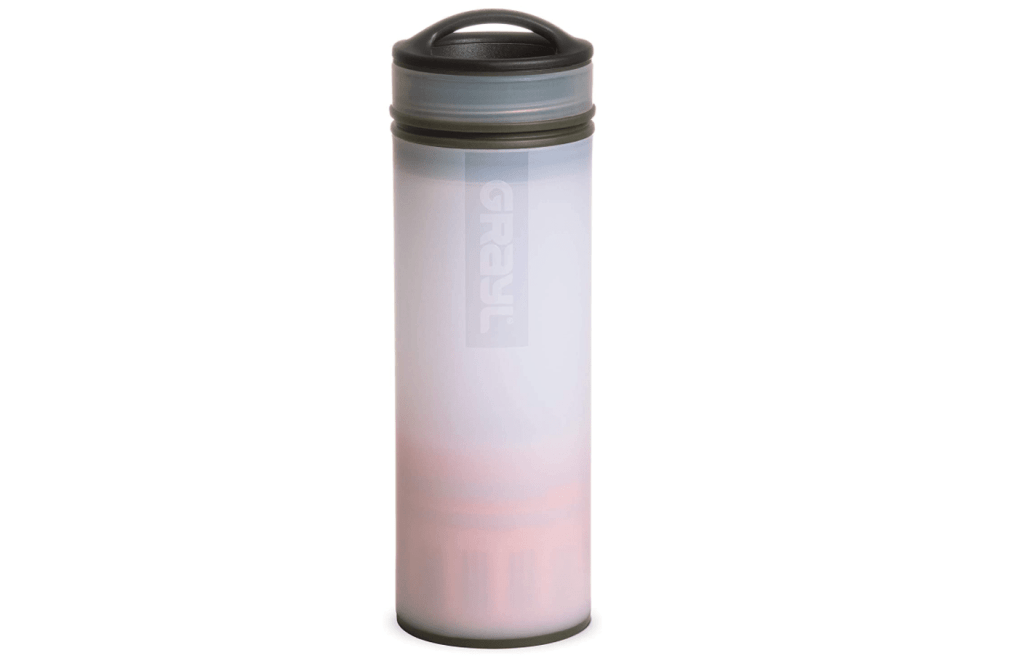 White water bottle that is semi transparent so you can see the orange water filtration device on the bottom half.