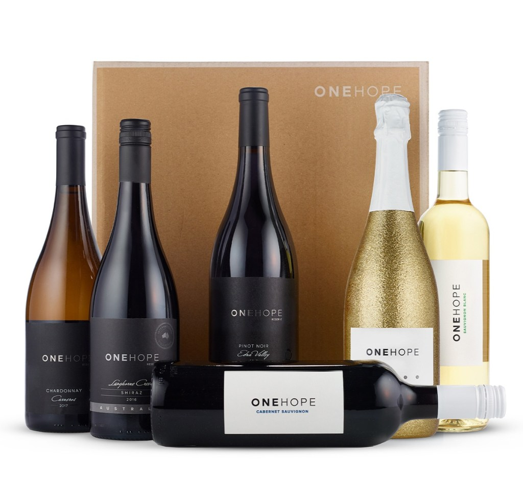 Six assorted wine bottles from One Hope Wine. Good pandemic gifts for stationary travelers!