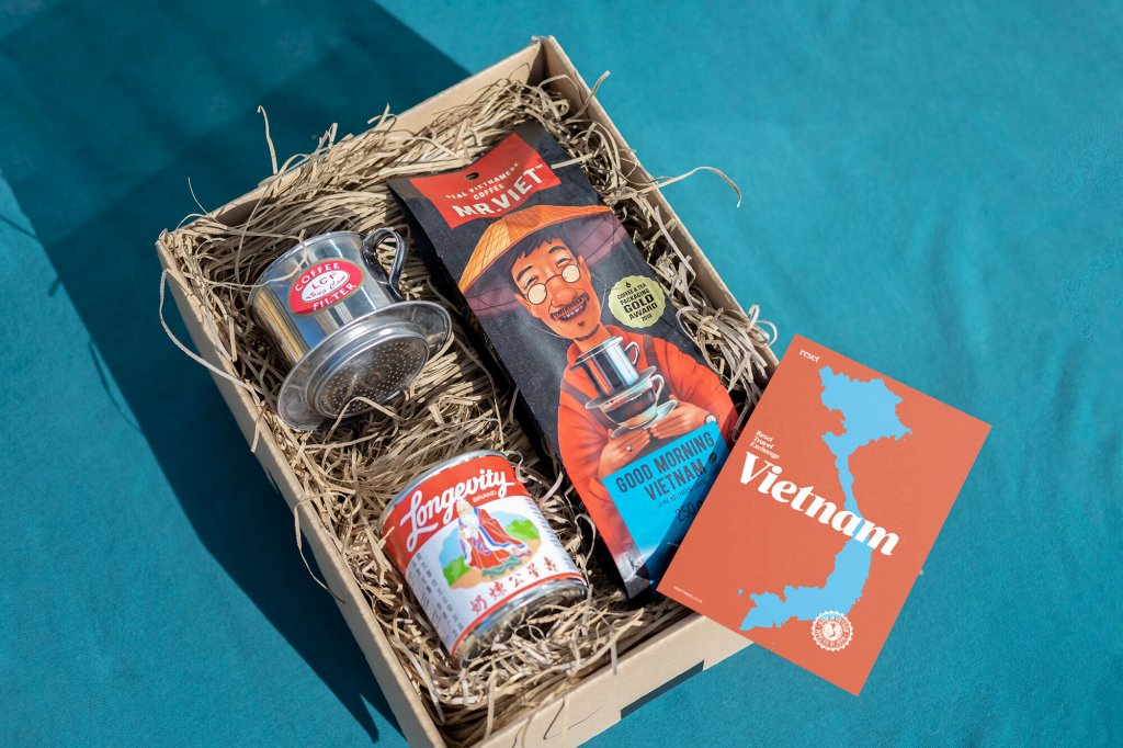 Vietnam gift box with coffee supplies set on a blue background