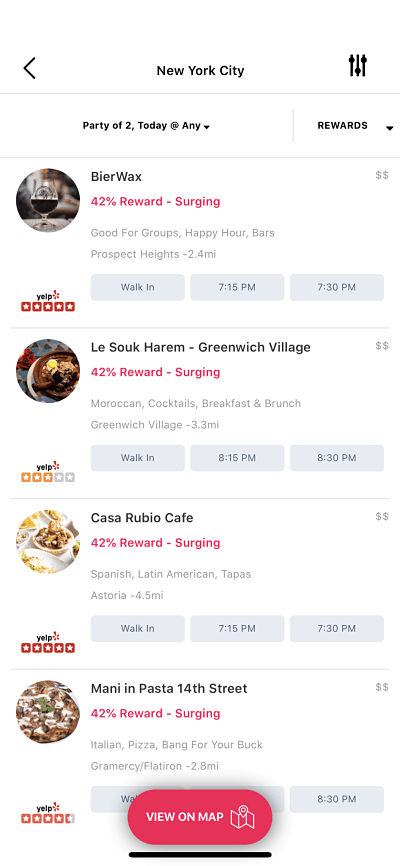 A screenshot of the highest reward restaurants on Seated