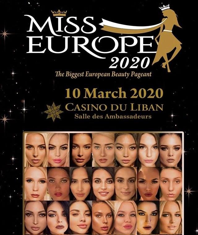 Финал конкурса MISS EUROPE 2020 состоится в Ливане 10 марта.