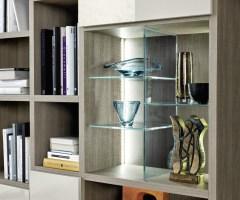Livitalia Design Wohnwand C64 mit Bücherregal TV Paneel