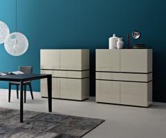 Livitalia Design Highboard Cubi mit Türen Schublade Weiß Matt