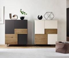 Livitalia Design Highboard Incontro Eiche Weiß Grau Matt