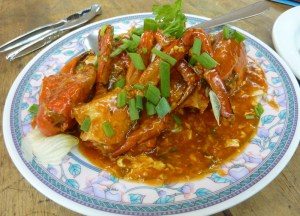 Red Chilli Crab Eating Malaysian Food