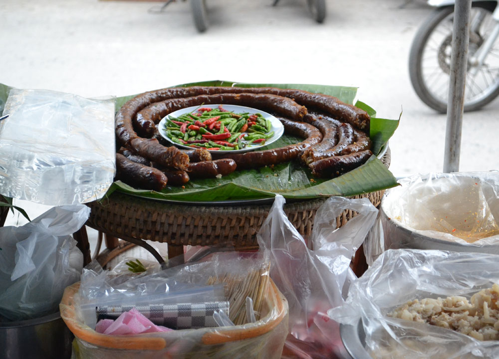 Spicy Thai Sausage, Lopburi Monkey Town in Thailand, Southeast Asia