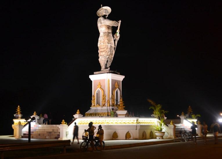 Chao Anouvong Statue, Vientiane Riverside Night Market Area, Saturday Night