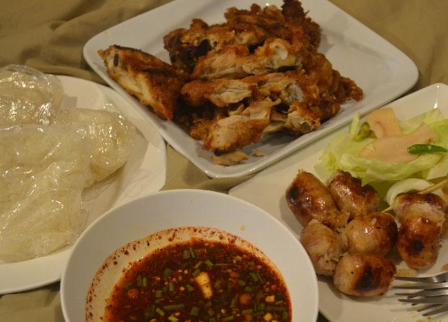 Bangkok Street Food, Isaan Sauasge Kai Yang, Eating in Southeast Asia