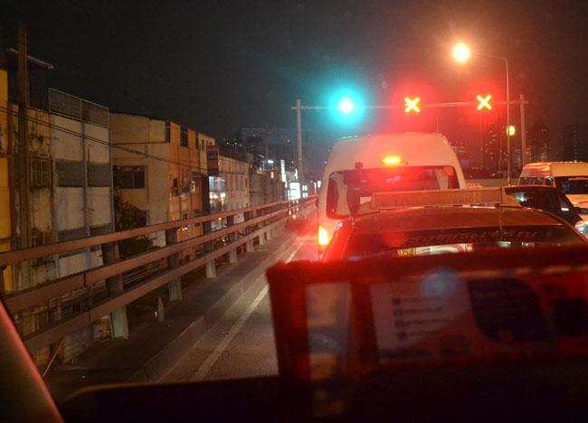 Minivan Traffic to MRT at Night, Bangkok Student Life in Southeast Asia