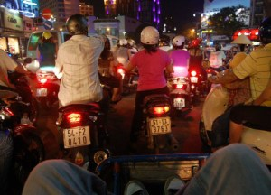 Busy Motorbike Traffic in in Ho Chi Minh City Saigon, Southeast Asia