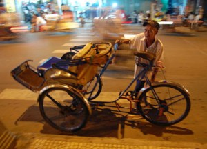 Cyclo Bicycle Rickshaw in Ho Chi Minh City Saigon, Southeast Asia
