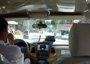 Metered Taxi at Weekend in Ho Chi Minh City Saigon, Southeast Asia