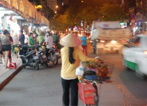 Night Time Traffic in Ho Chi Minh City Saigon, Southeast Asia