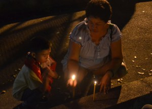 Mum Son Lighting Candles, Fathers Day Thailand, Southeast Asia