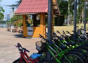 Bike Rental Kiosk, Benjakiti Park Bangkok, Park Life in Southeast Asia