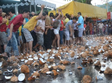 Smashing Coconuts at Third Day of Thaipusam in Penang, Southeast Asia