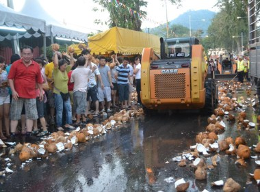 Clearing Coconuts on Third Day of Thaipusam in Penang, Southeast Asia