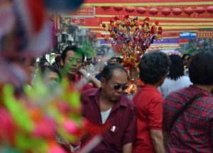 Crowded Streets on Chinese New Year in Bangkok Chinatown, Yaowarat