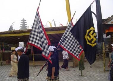 Swastika Flag, Ulun Danu Batur Temple Ceremony, Bali Southeast Asia