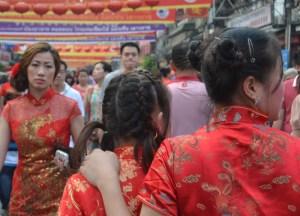Chinese Red Dress, Chinese New Year in Bangkok Chinatown, Yaowarat