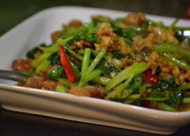 Fried Kana Moo Grob, Eating Thai Food, Local Food Habits in Thailand